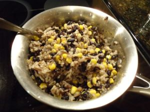 Beans, rice and corn